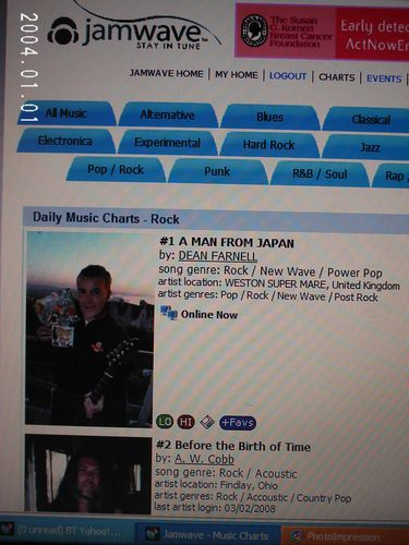 DEANS No1 ON JAMWAVE DAILY CHART ROCK LIST